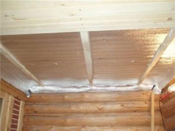 крепление теплоизоляции к потолку