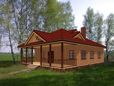 проект одноэтажного деревянного дома для сельской местности