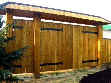деревянны ворота для дачи