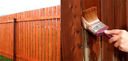 процедура покраски деревянного забора