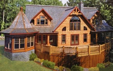 оригинальный деревянный дом из бруса