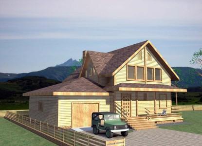 проект каркасного деревянного дома с гаражом