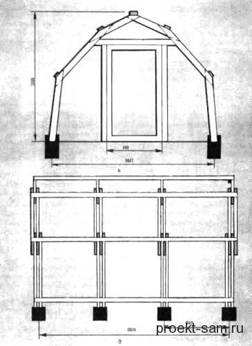 схема деревянного арочного каркаса для теплицы