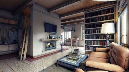 дизайн комнаты с печью