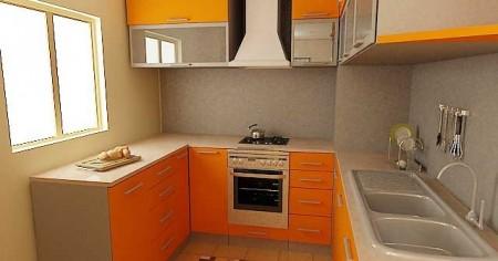 дизайн кухни 6 кв. м. с прямым углом