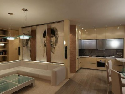 дизайн интерьера гостиной, совмещенной с кухней