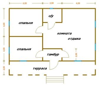 планировка одноэтажного дома 10x10