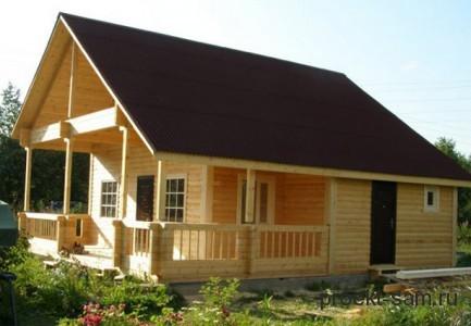 дом из бруса с террасой 6x6