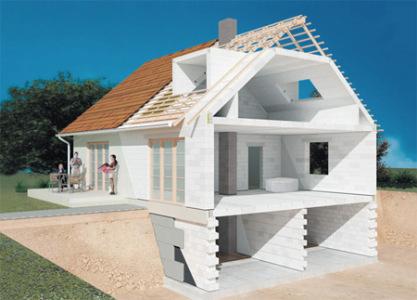 макет дома из газобетона с цокольным этажом