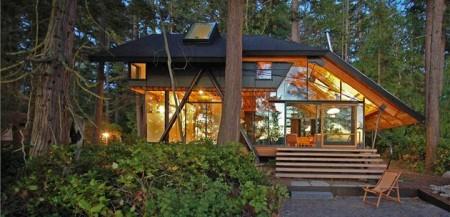 дом из стекла и дерева