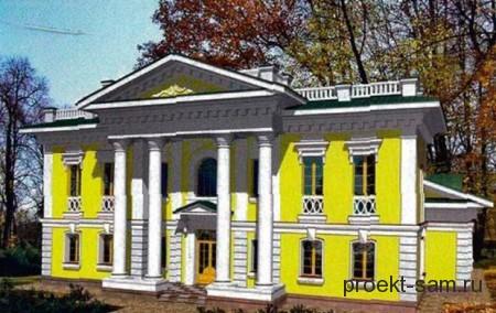 кирпичный двухэтажный дом с колоннами