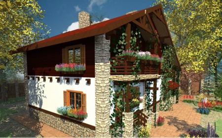 фасада дома в стиле шале