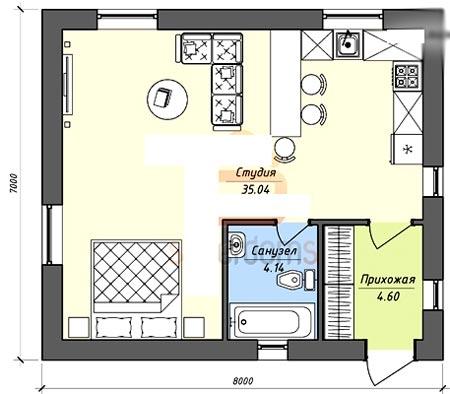 планировка дом студия