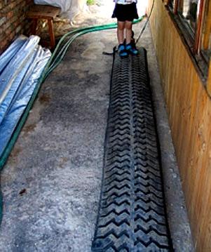разрезанная шина для дорожки