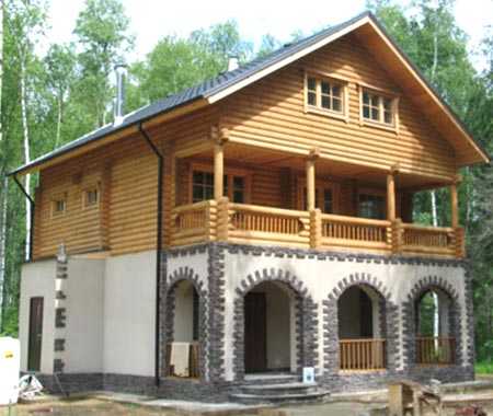 дом мансарда камень дерево