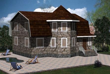 проект двухэтажного дома с эркером и мансардой