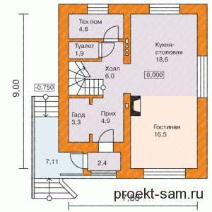 планировка дома с двухсторонним входом