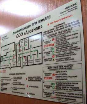 размещение плана эвакуации