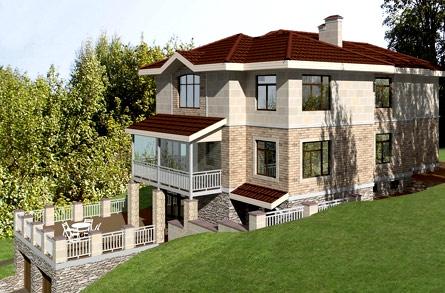 фасад трехэтажного дома