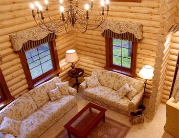 внутренний интерьер бревенчатого дома