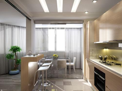 функциональная кухня-столовая