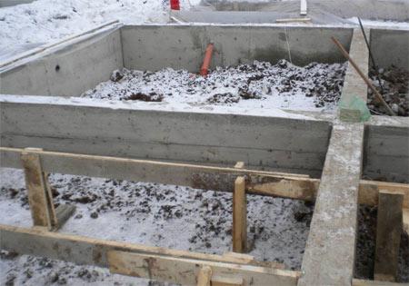 монтаж фундамента зимой
