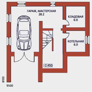 цокольный этаж с гаражом