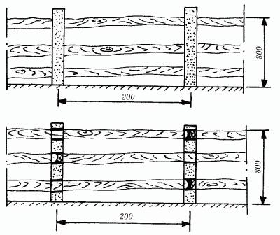 забор параллельные жерди