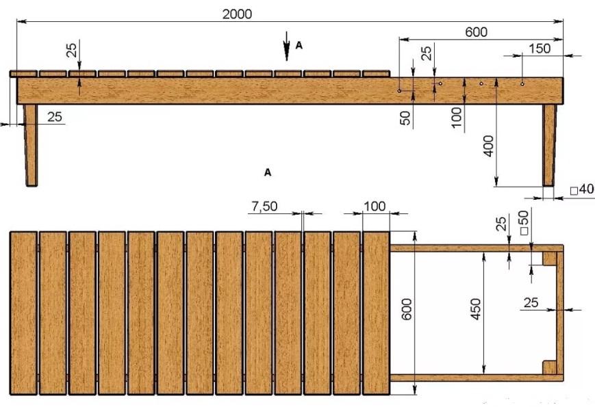 Размер деревянной скамейки