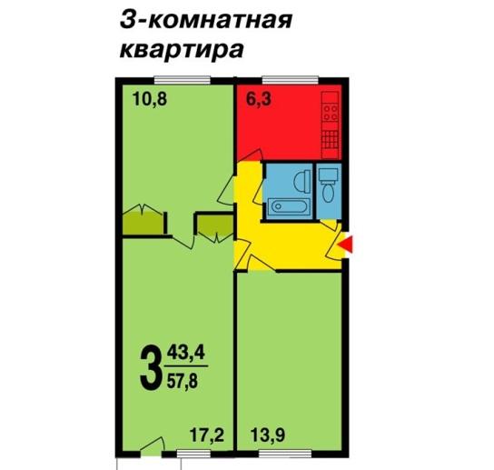 Планировка квартиры в доме МГ- 1