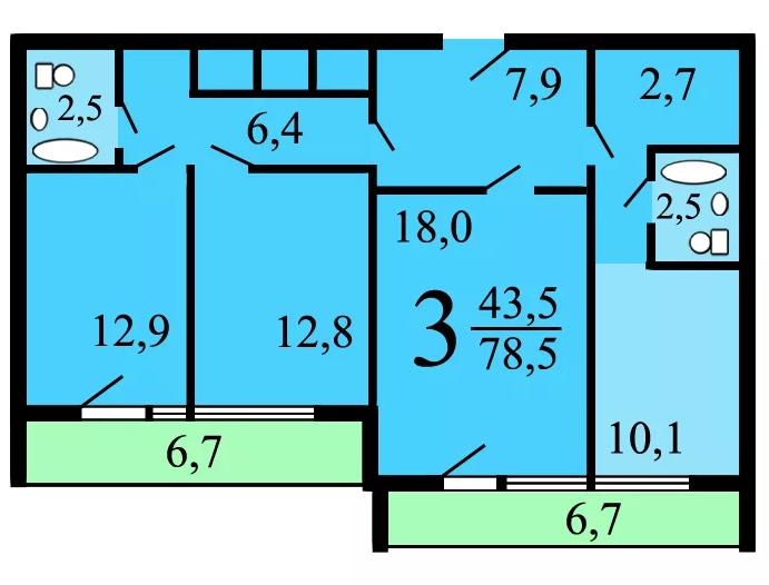 3-х комнатная квартира в доме И-700