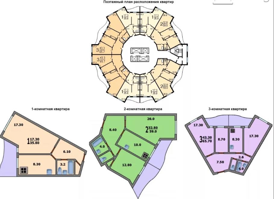 Квартиры в доме серии Колос