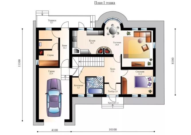 План первого этажа с гаражом