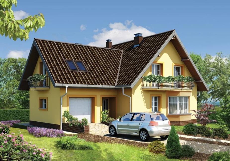Двухэтажный дом с мансардой и гаражом