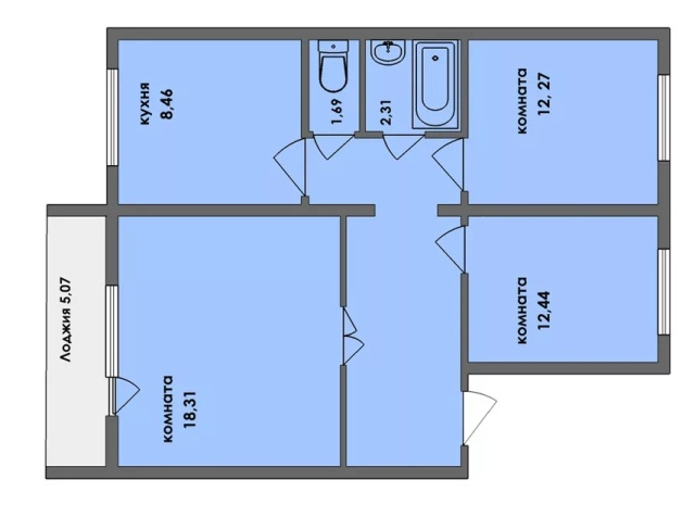Трехкомнатная квартира 63 м2
