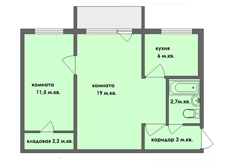 Двухкомнатная квартира в хрущёвке