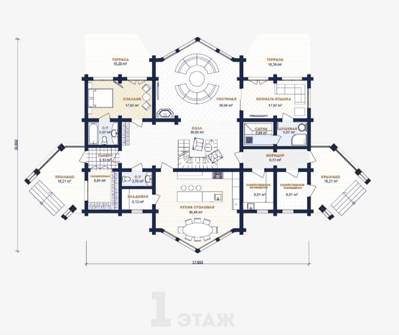 Схема первого этажа в доме