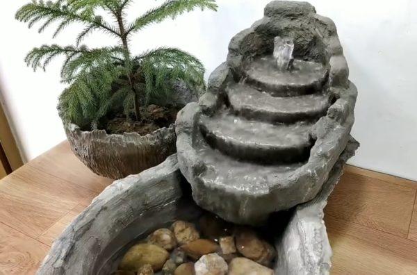Каменный дизайн мини водопада для дачи