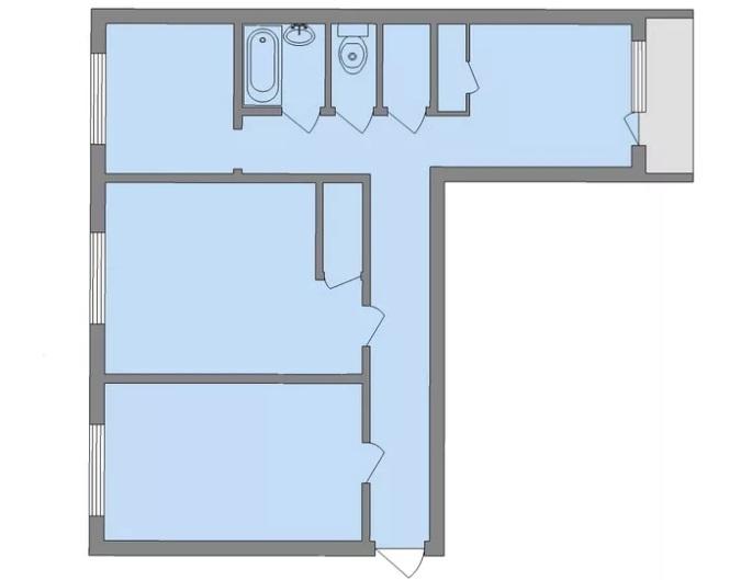 Планировка трехкомнатной квартиры в сталинке