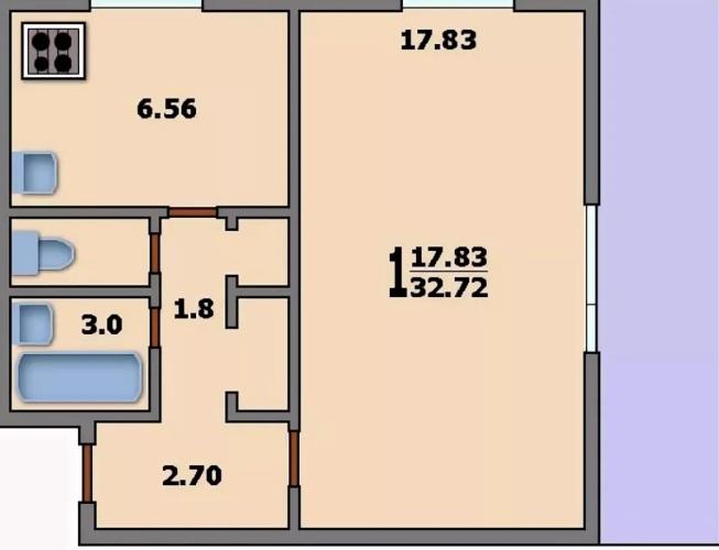 Однокомнатная квартире в доме 1605