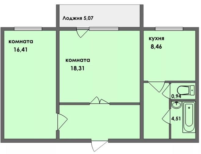Двухкомнатная квартира 59 м2