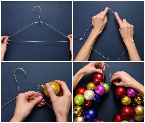 Венок из вешалки и новогодних шаров
