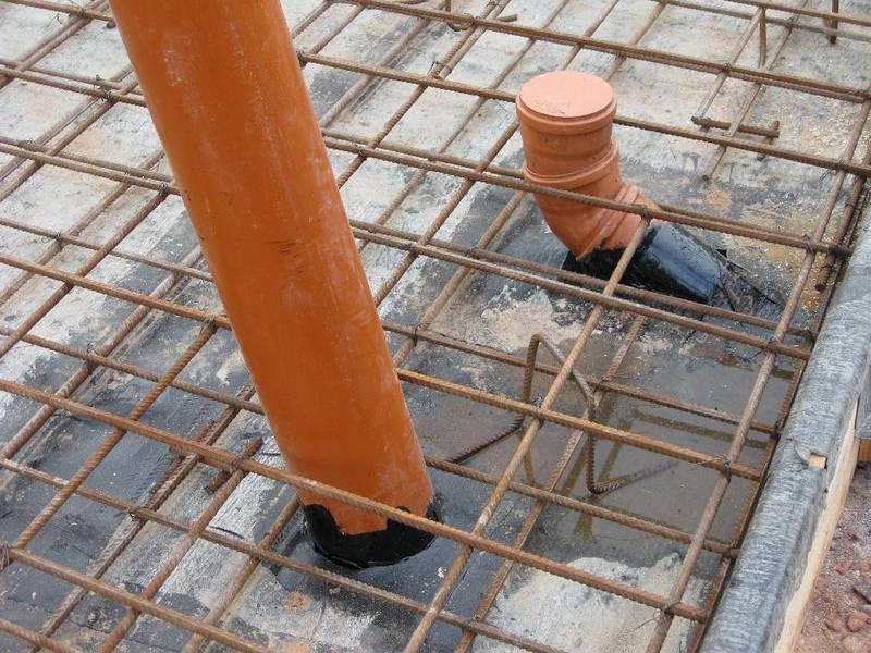 фундамент плита закладка труб