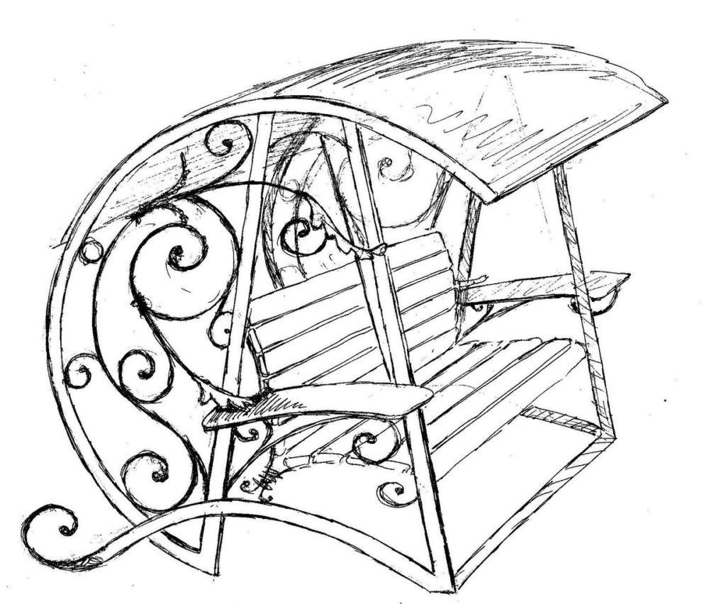 эскиз скамейки