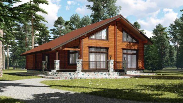 Деревянный дом с двухскатной крышей