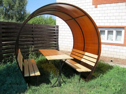 Овальный навес для скамейки