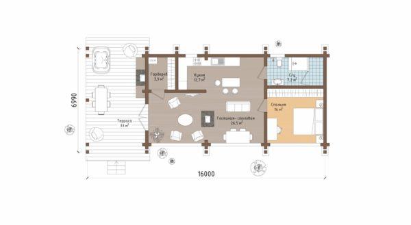 План одноэтажного дома с террасой