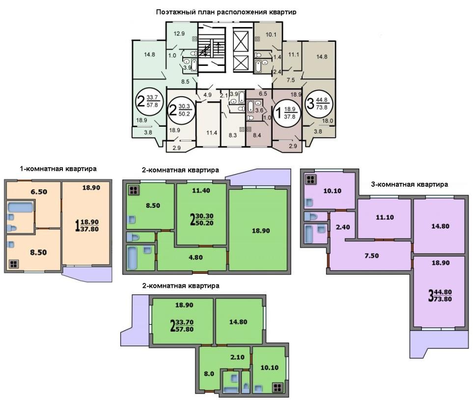 Планировка в домах серии П-44