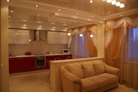 дизайн освещения кухни-гостиной