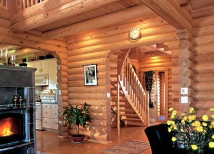 дизайн интерьера оцилиндрованного дома